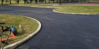 paving at public park parking lot